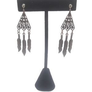 Copper triangle cutout earrings, dangling feathers